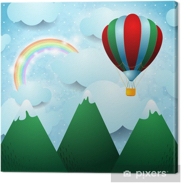 Tableau sur toile Ballon à air chaud sur la montagne - Montagne