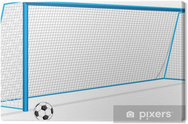Tableau sur toile Ballon de football et porte et isolé sur le blanc - Matchs et compétition