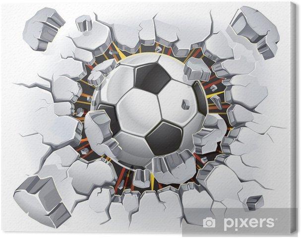 Tableau sur toile Ballon de football passant à travers un mur - Destin