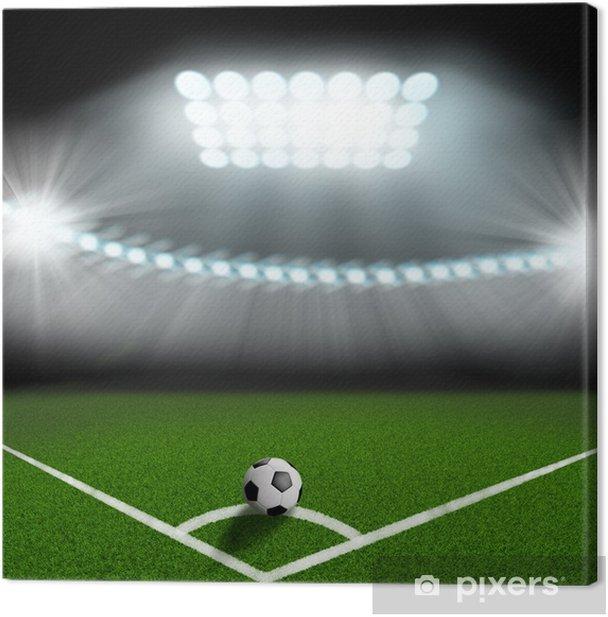 Tableau sur toile Ballon de football sur le coin vert de domaine - Réussite