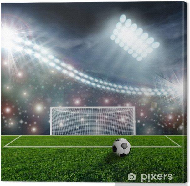 Tableau sur toile Ballon de soccer sur scène du stade vert - Réussite