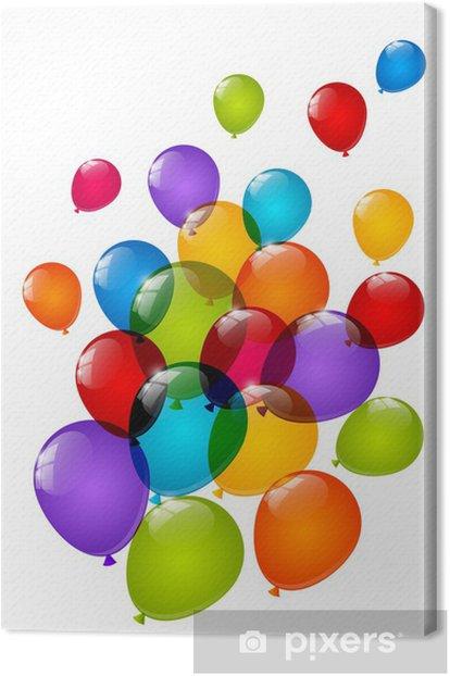 Tableau sur toile Ballons brillants de couleur isolés sur fond blanc - Célébrations