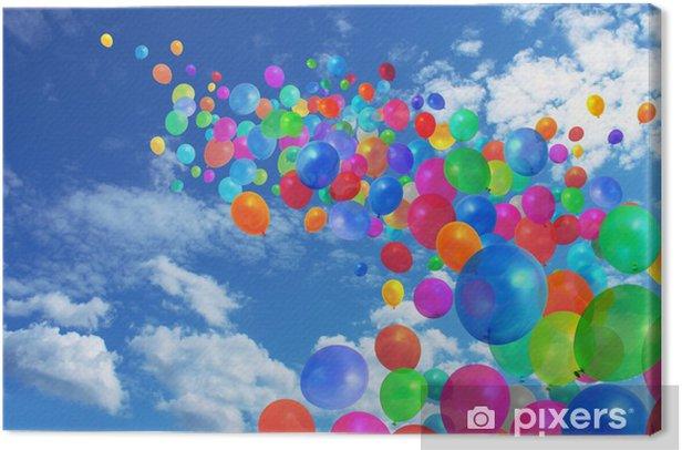 Tableau sur toile Ballons colorés sur ciel bleu - Divertissements