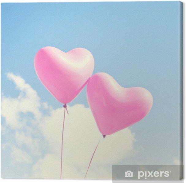 Tableau sur toile Ballons roses de coeur - Émotions et sentiments