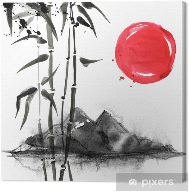 Tableau Sur Toile Bambou Dans Le Style De Peinture Japonaise Traditionnelle Belle Aquarelle Illustration Dessinee A La Main Pixers Nous Vivons Pour Changer