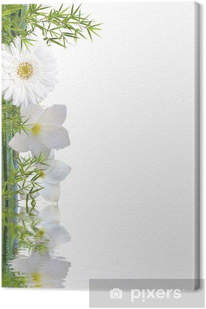 Tableau sur toile Bambou et fleurs blanches - Fleurs