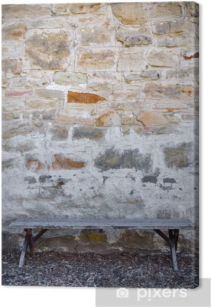 Tableau sur toile Banc et mur de pierre - Justice