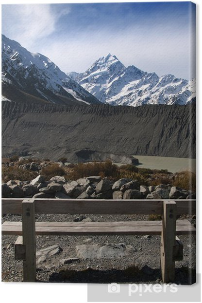 Tableau sur toile Banc public face à Mont Cook en Nouvelle-Zélande. - Océanie