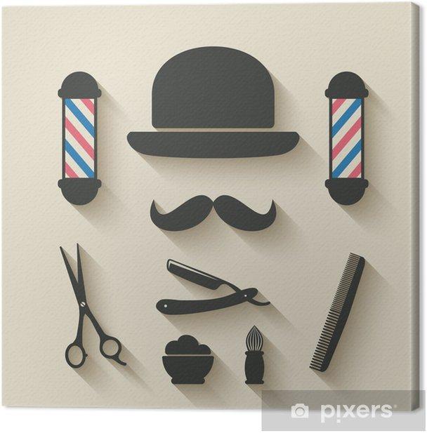 Tableau sur toile Barbier icône ensemble - Finance