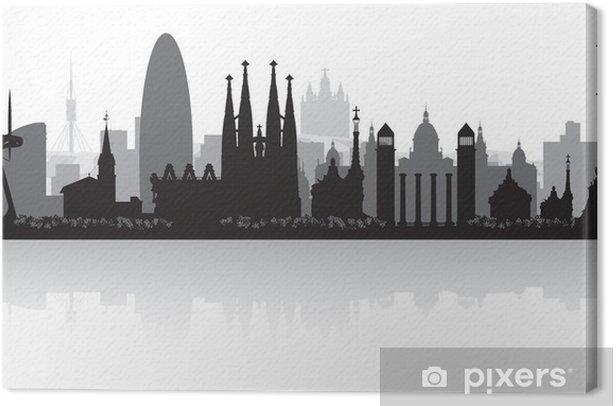 Tableau sur toile Barcelone Espagne toits de la ville silhouette - Styles