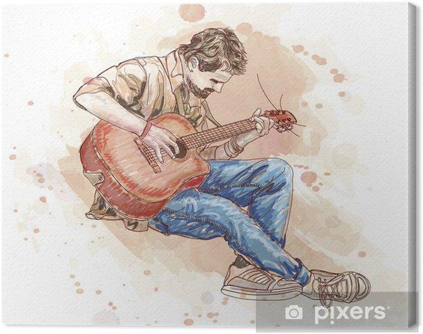 Tableau sur toile Barde avec une guitare - vecteur nul - Thèmes