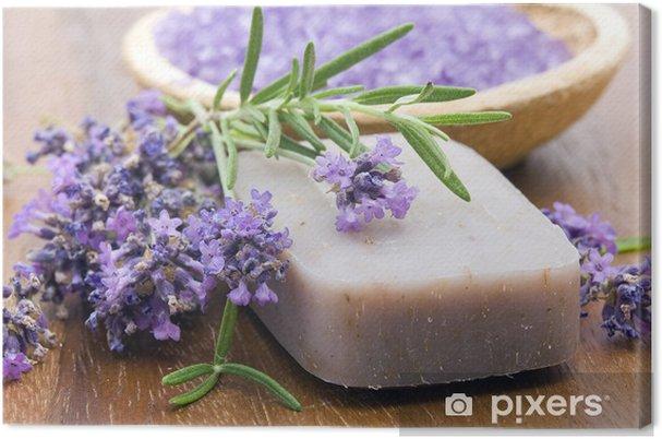 Tableau sur toile Barre de savon naturel, herbes et sel de bain - Destin