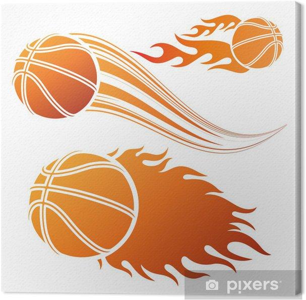 72338084ab493 Tableau sur toile Basket-ball élément de conception et les flammes - Sports  collectifs