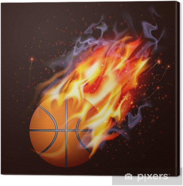 Tableau sur toile Basket-ball sur le feu - Sports collectifs