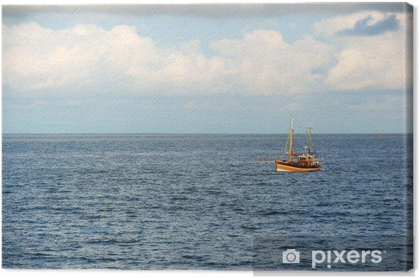 Tableau sur toile Bateau de pêche en mer - Eau