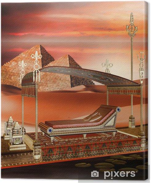 Tableau sur toile Bateau égyptien et les pyramides - Afrique