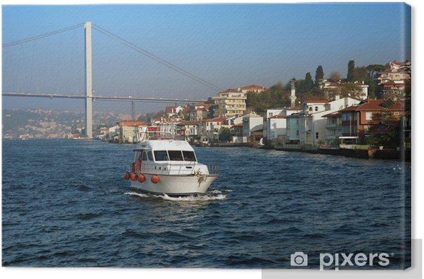 Tableau sur toile Bateau, Pont sur le Bosphore et Maisons sur la côte à Istanbul - Thèmes