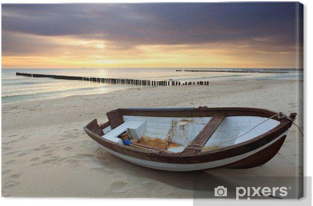 Tableau sur toile Bateau sur la plage magnifique lever de soleil - Thèmes