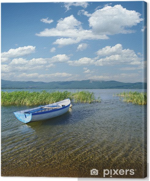 Tableau sur toile Bateau sur le lac de Prespa, République de Macédoine - Europe
