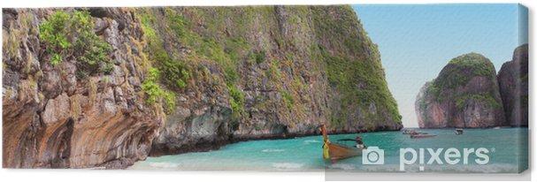Tableau sur toile Bateau sur le sable de la baie de Maya Phi Phi Island - Eau