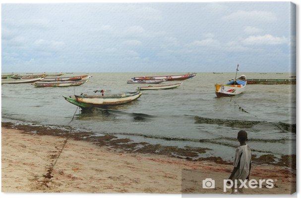 Tableau sur toile Bateaux côte pêcheur Afrique Sénégal Atlantique - Afrique