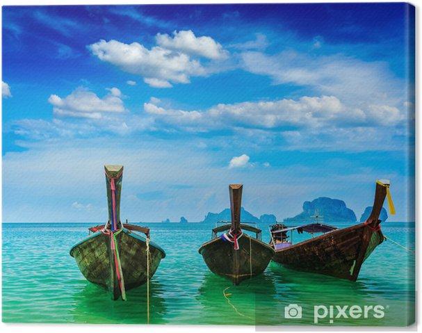 Tableau sur toile Bateaux de long arrière sur la plage, Thaïlande - Asie