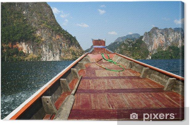 Tableau sur toile Bateaux en bois à ratchaprapa Dam, de Khao Sok, Thaïlande - Asie