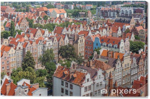 Tableau sur toile Bâtiments de la vieille ville dans le centre de Gdansk en Pologne - Vacances