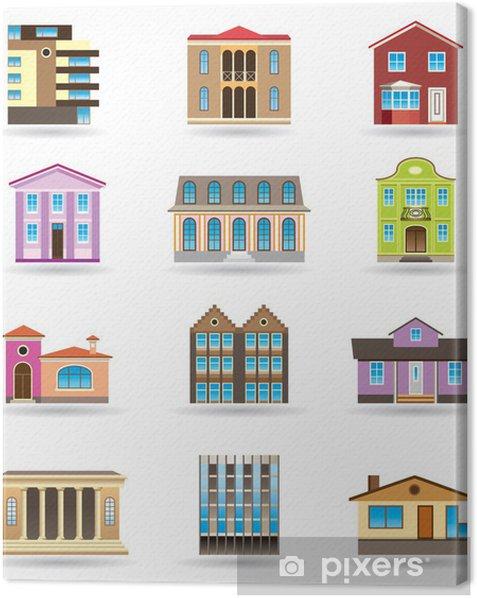 Tableau sur toile Bâtiments et des maisons de différents styles architecturaux - Propriétés privées