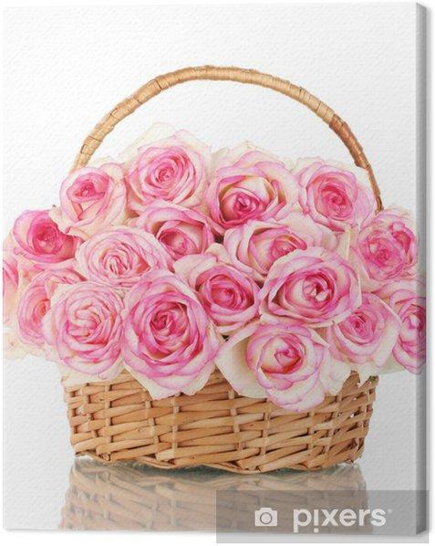 Tableau sur toile Beau bouquet de roses roses dans le panier, isolé sur blanc - Thèmes