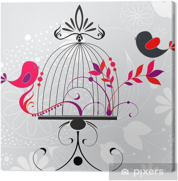 Tableau sur toile Beau fond romantique floral - Oiseaux