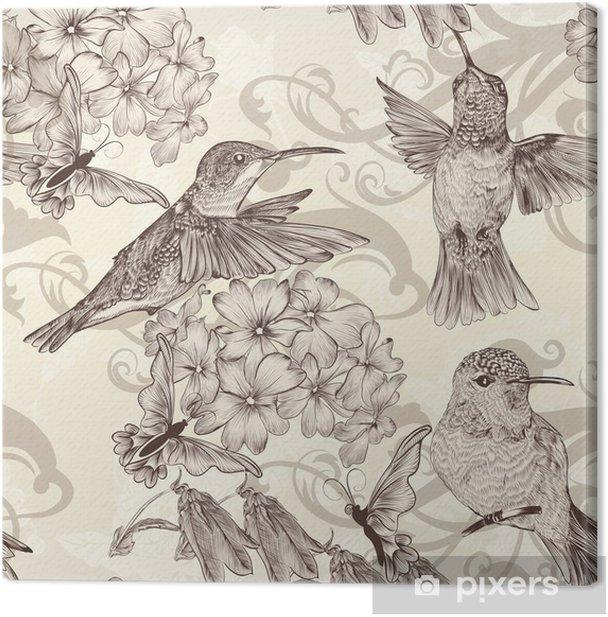 Tableau sur toile Beau papier peint transparente avec humingbirds en Vintage - Styles