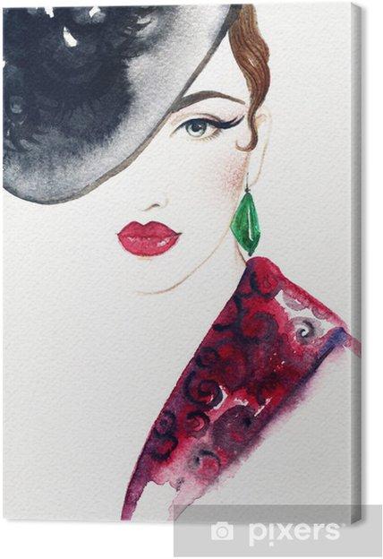 Tableau sur toile Beau visage. portrait de femme avec un chapeau. aquarelle abstraite .fashion fond - Femmes