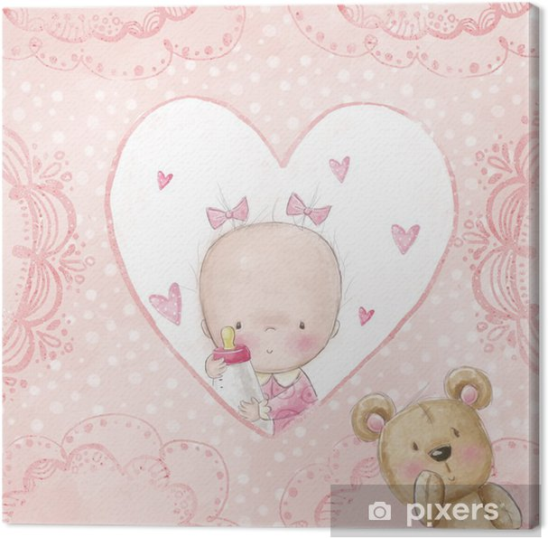tableau sur toile b b douche salutation card baby fille avec peluche pixers nous vivons. Black Bedroom Furniture Sets. Home Design Ideas