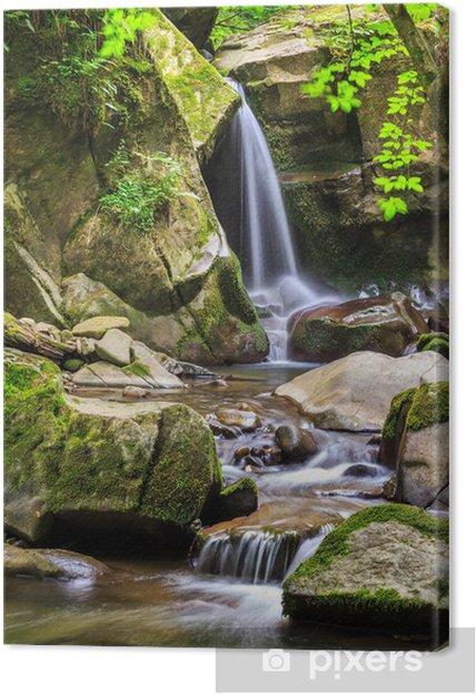 Tableau cascade et rocher 1 tableaux sur toile belle cascade sort d 39 un enorme rocher dans la foret