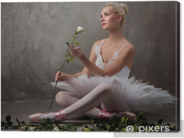 Tableau sur toile Belle danseuse de ballet avec un roses blanches - Ballet