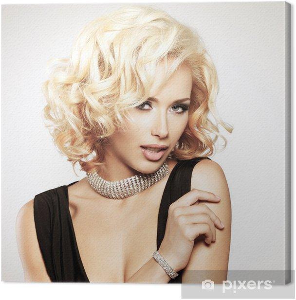 Tableau sur toile Belle femme blanche avec coiffure bouclée -