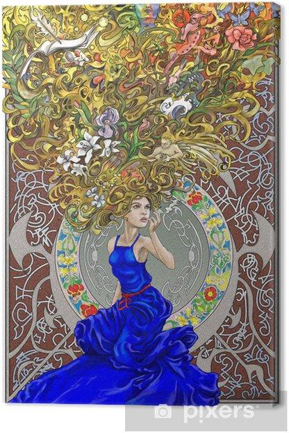 Tableau sur toile Belle femme dans la pensée profonde - Destin