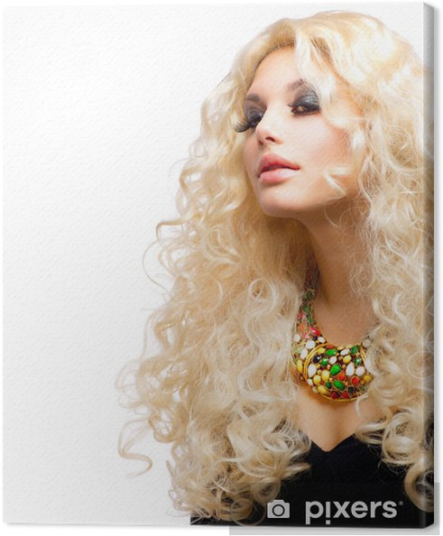 Tableau sur toile Belle fille avec cheveux blonds bouclés isolé sur blanc - Femmes