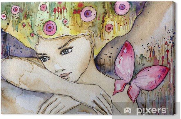 Tableau sur toile Belle fille avec papillon -