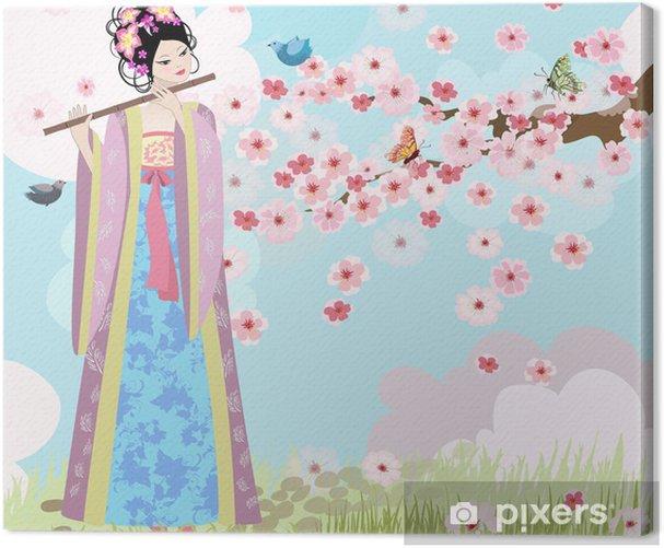 Tableau sur toile Belle fille Oriental près de cerisiers en fleurs - Thèmes