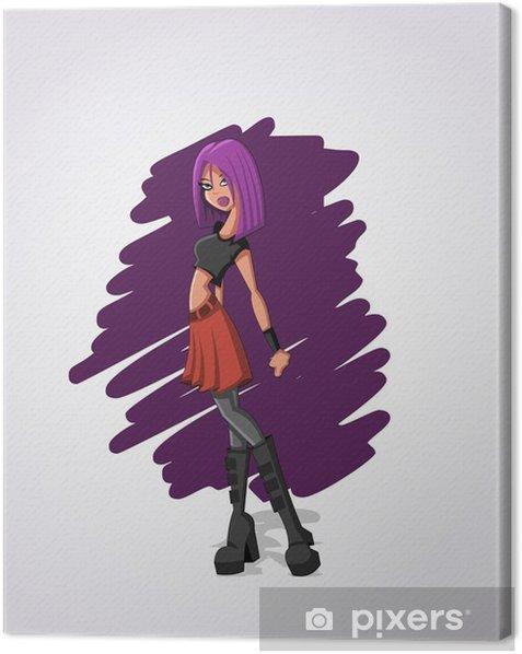 Tableau sur toile Belle Fille sexy de dessin animé rock aux cheveux violets - Femmes