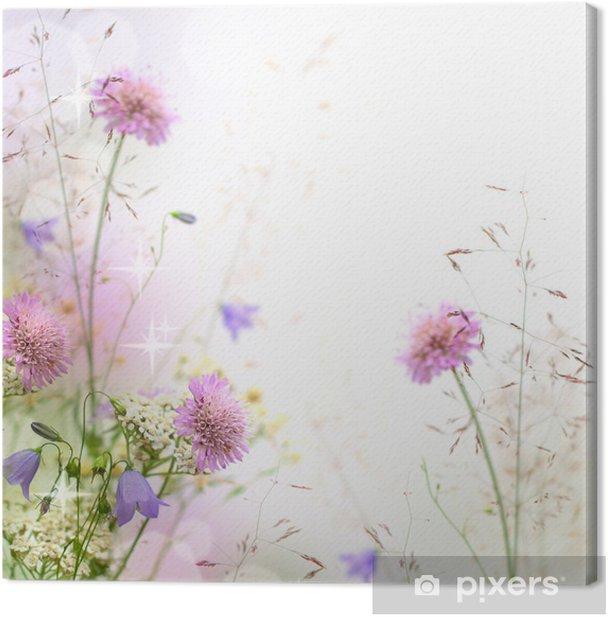 Tableau sur toile Belle frontière floral pastel - arrière-plan flou - iStaging