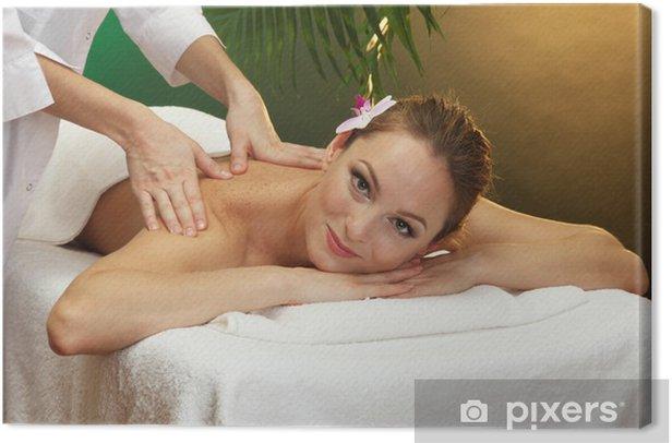 Tableau sur toile Belle jeune femme au salon spa obtenir un massage, - Destin