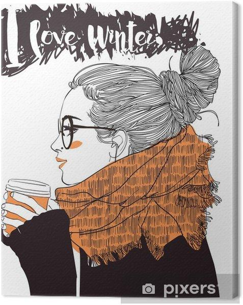 Tableau sur toile Belle jeune femme avec tasse de café - Personnes