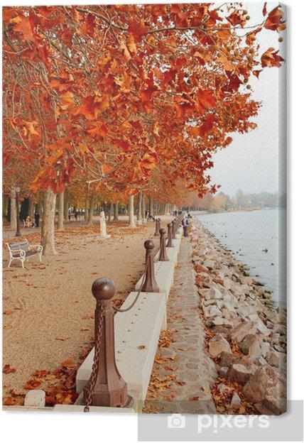 Tableau sur toile Belle promenade au bord du lac Balaton, à l'automne, la Hongrie - Saisons
