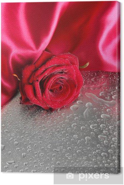 Tableau sur toile Belle rose rouge et tissu de soie sur fond gris humide - Fleurs