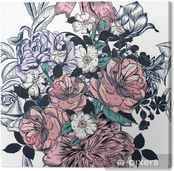 Tableau sur toile Belle seamless main dessiné roses et fioritures - Plantes et fleurs