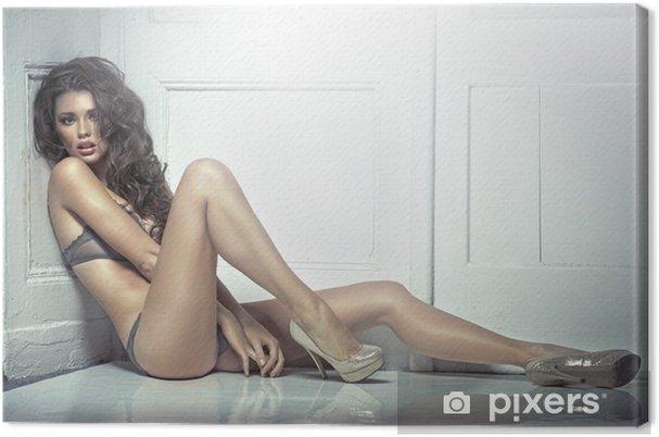 Tableau sur toile Belle séduisante jeune femme en lingerie sexy - Thèmes