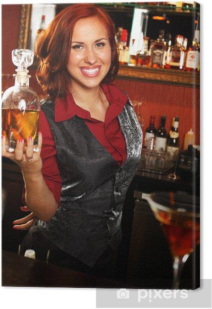 Tableau sur toile Belle serveuse avec une bouteille derrière comptoir de bar - Magasins